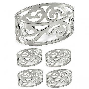 Edzard Napkin Rings Vita, set of 4, oval, shiny silver plated non tarnishing, Ø 5 cm