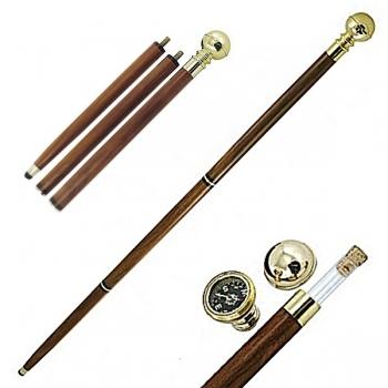 Spazierstock Gehstock Kapitänsstock mit Geheimfach, zerlegbar, mit eingeb. Glasröhrchen u. Kompass, L 92 cm