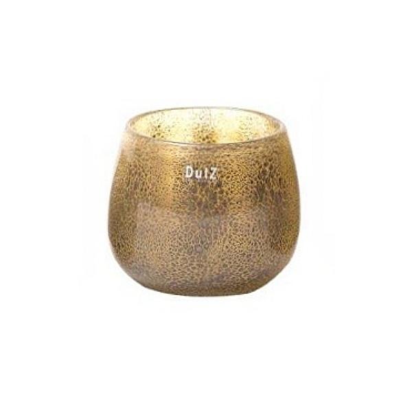 Collection DutZ® vase/récipient Pot, h 14 x Ø 16 cm, argent/marron avec cloques