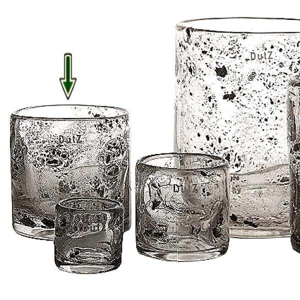DutZ®-Collection Vase Cylinder, H 14 x Ø 14 cm, Klar mit Metallflakes