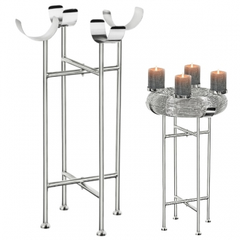 Edzard Stand for Advent Wreath Verona Ø 40 cm, shiny nickel plated, h 68 cm