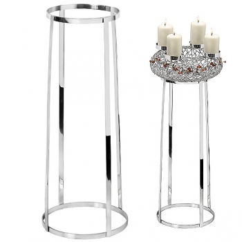 Edzard Stand for Advent Wreaths Milano with Ø 34 cm, shiny nickel plated, h 64 x Ø 34 cm
