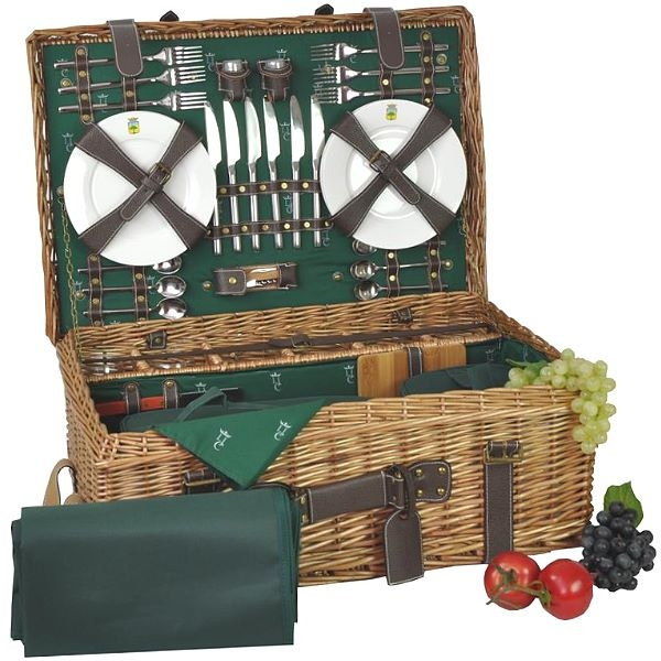 Picnic-Basket Premium for 6 people, tanned wicker/leather/cotton, fully equipped, l 62 x w 44 x h 23 cm