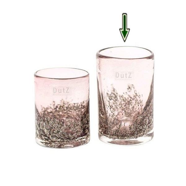 DutZ®-Collection Vase Cylinder, H 14 x Ø 9 cm, Aubergine mit Bubbles