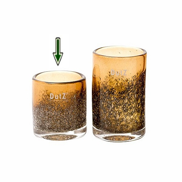 DutZ®-Collection Vase Cylinder, H 10 x Ø 9 cm, Cognac mit Bubbles