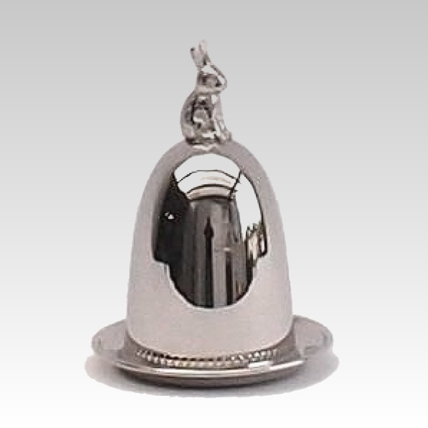Eggcup / Eggwarmer, with bell shaped cover and coaster, Rabbit, shiny silver plated, h 10 x Ø 8 cm