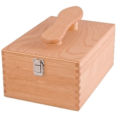 Shoe Shine Box, beech wood with shoe handle, Dimensions: l 34.5 x w 23 x h 14 cm