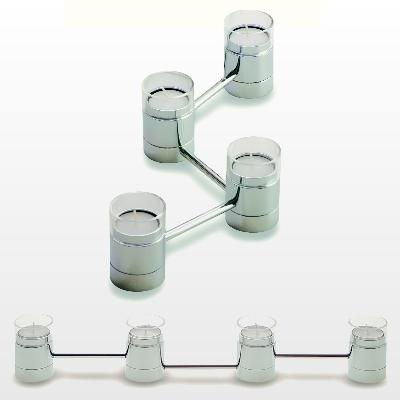 Tea Light Chain, with 4 holders, shiny chromed steel, glass, Dimensions: l 47 cm, holder: h 7.5 x Ø 5 cm