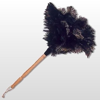 Feather Duster with genuine ostrich feathers, lacquered wooden stick, leather hanger, l 50 cm