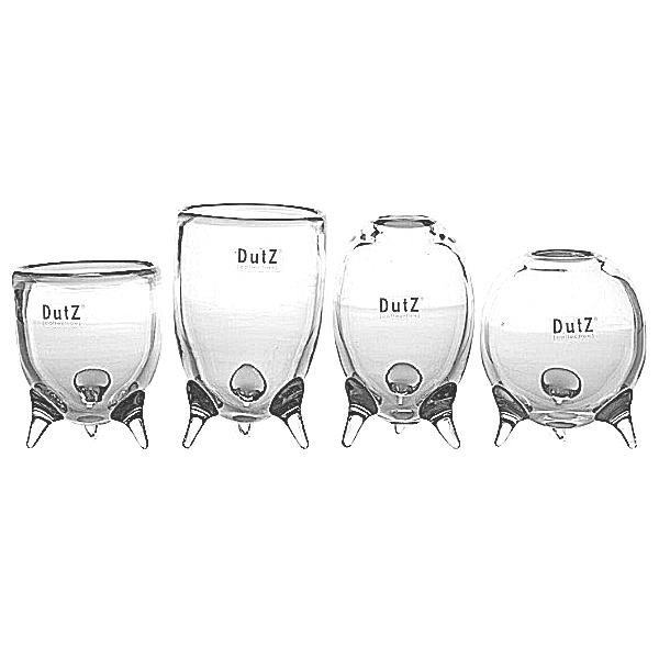 DutZ®-Collection Vases Set Evita, 4 different tripod vases, h 12/14/15/16 x Ø 9.5 cm, clear