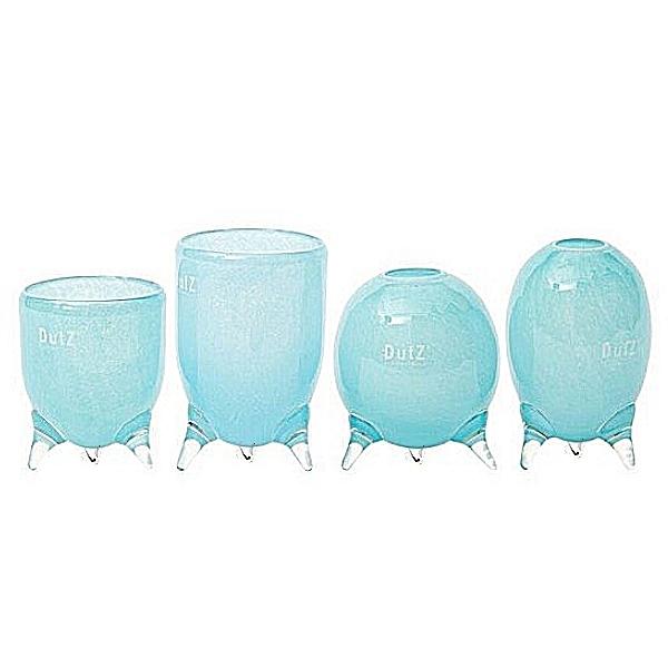 DutZ®-Collection Vases Set Evita, 4 different tripod vases, h 12/14/15/16 x Ø 9.5 cm, aqua