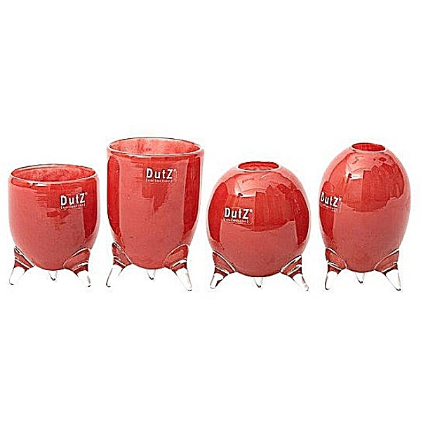 DutZ®-Collection Vases Set Evita, 4 different tripod vases, h 12/14/15/16 x Ø 9.5 cm, red