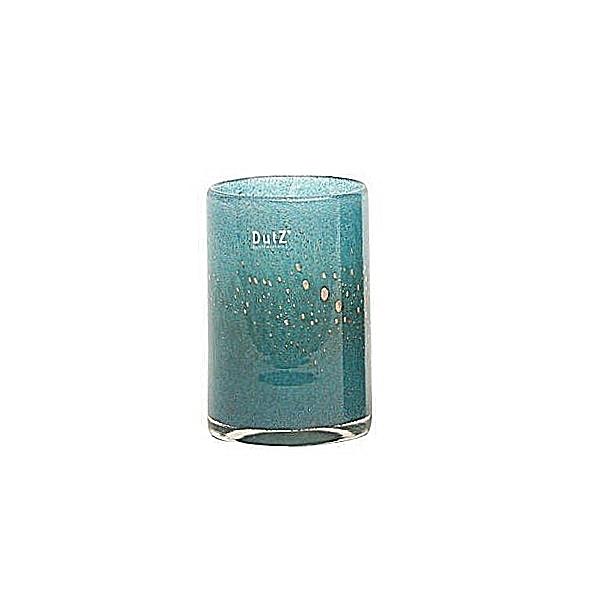 DutZ®-Collection Vase Cylinder, H 18 x Ø 12 cm, Blau Petrol mit Bubbles