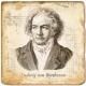 Marmorfliese, Motiv: Beethoven,  Antikfinish,  Aufhängeöse, Antirutschfüßchen, Maße: L 20 x B 20 x H 1 cm