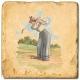 Marmorfliese, Motiv: Golf 1 B,  Antikfinish,  Aufhängeöse, Antirutschfüßchen, Maße: L 20 x B 20 x H 1 cm