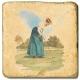 Marmorfliese, Motiv: Golf 1 D,  Antikfinish,  Aufhängeöse, Antirutschfüßchen, Maße: L 20 x B 20 x H 1 cm