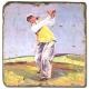 Marmorfliese, Motiv: Golf 4 A,  Antikfinish,  Aufhängeöse, Antirutschfüßchen, Maße: L 20 x B 20 x H 1 cm