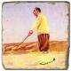 Marmorfliese, Motiv: Golf 4 B,  Antikfinish,  Aufhängeöse, Antirutschfüßchen, Maße: L 20 x B 20 x H 1 cm