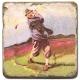 Marmorfliese, Motiv: Golf 4 C,  Antikfinish,  Aufhängeöse, Antirutschfüßchen, Maße: L 20 x B 20 x H 1 cm