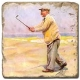 Marmorfliese, Motiv: Golf 4 D,  Antikfinish,  Aufhängeöse, Antirutschfüßchen, Maße: L 20 x B 20 x H 1 cm