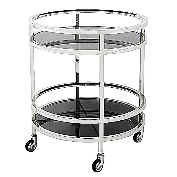 eichholtz servierwagen beistelltisch trolley dakota edelstahl poliert glas schwarz h 69 x. Black Bedroom Furniture Sets. Home Design Ideas