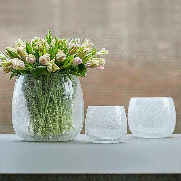 dutz collection vase pot h 14 x 16 cm klar mit bubbles 105749. Black Bedroom Furniture Sets. Home Design Ideas