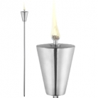 Garden Torch Cone, satined stainless steel, Dimensions: h 101 x Ø 8.5 cm, height of oil container: 12 cm