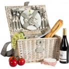Picnic-Basket France for 2 people, patined wicker/linen, fully equipped, l 40 x w 28 x h 23 cm