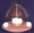 Wax Ball Wind Light, Terracotta, 3-ball burner, terracotta ceramic base, glass, Dimensions: h 18 x Ø 16 cm