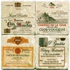 Sous-verres en marbre, 4 pièces, motif vins de France 1, finition antique avec dos en liège, L 10 xl 10 x h 1 cm