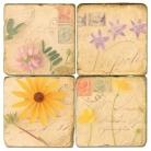 Sous-verres en marbre, 4 pièces, motif fleurs et lettres 1, finition antique avec dos en liège, L 10 xl 10 x h 1 cm