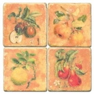 Marble Coasters, set of 4, illustration theme Fruit Mix, antique finish, cork backed, l 10 x w 10 x h 1 cm.