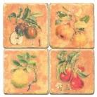Sous-verres en marbre, 4 pièces, motif fruits, finition antique avec dos en liège, L 10 xl 10 x h 1 cm