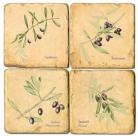 Sous-verres en marbre, 4 pièces, motif branches d'olivier, finition antique avec dos en liège, L 10 xl 10 x h 1 cm