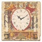 Horloge sur carrelage de marbre italien, motif alchimiste, finition antique, épaisseur +/- 1 cm, L 20 xl 20 cm