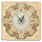 Horloge sur carrelage de marbre italien, motif bleu-rouge, finition antique, épaisseur +/- 1 cm, L 20 xl 20 cm