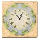 Horloge sur carrelage de marbre italien, motif bleu-vert, finition antique, épaisseur +/- 1 cm, L 20 xl 20 cm