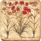 Carrelage en marbre, motif fleurs rouges A, finition antique, illet pour l'accroche, pieds antidérapants, L 20 xl 20 x h 1 cm