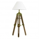 Eichholtz Tripod Lamp with chintz shade, crème white, antique brass, mahogany coloured, Dimensions: h 65 x Ø 25 cm