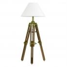 Lampe de table trépied avec abat-jour chintz crème, laiton/couleur acajou, dimensions: h 65 x d 25 cm