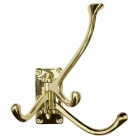 Wall Hook, quadruple, solid polished brass, hinged, 4 brackets, Dimensions: h 12 x w 4 x d 16 cm.