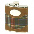 Hip Flask, Scotty, stainless steel, tartan, leather applications, capacity 180 ml, Dimensions: h 15 x w 9.7 x d 2.5 cm