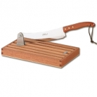 Laguiole bread cutter, Bubinga handle, polished, knife l 29 cm, handle 15 cm, total l 44 cm, crumb collector, Dimensions: l 30.5 x w 17.5 x h 3.5 cm