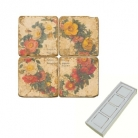 Aimants en marbre, coffret de 4, motif couronne de fleurs, finition antique, L 5 x l 5 x h 1 cm
