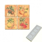 Aimants en marbre, coffret de 4, motif fruits, finition antique, L 5 x l 5 x h 1 cm