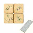 Aimants en marbre, coffret de 4, motif branches d'olivier, finition antique, L 5 x l 5 x h 1 cm