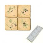 Memomagnete Set Olivenzweige, Marmor, Antikfinish, 4 er Set in Box, Maße: L 5 x B 5 x H 1 cm