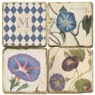 Marble Coasters, set of 4, illustration theme with Monogram M, antique finish, cork backed, l 10 x w 10 x h 1 cm
