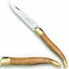 Laguiole pocket knife classic, Olivewood, brass handle, polished, Dimensions: haft l 12 cm, blade: l 10 cm