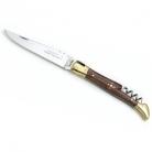 Laguiole Taschenmesser/Korkenzieher, Griffschalen Rosenholz, Backen Messing poliert, Maße: L 12 cm